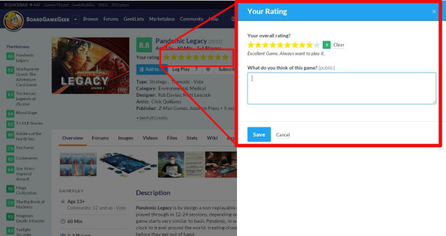 the new pop-up when giving a star rating to a game.