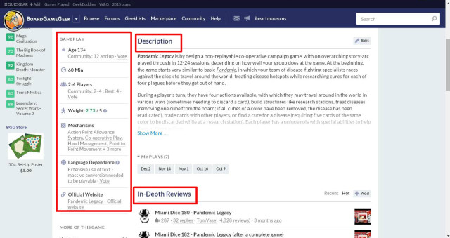 reorganized game page, with the game info on the left, and the description and reviews higher up